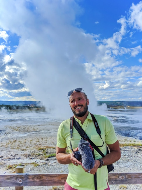 Rob Taylor at Fountain Geyser at Fountain Paint Pots Yellowstone NP 1