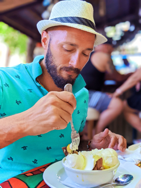 Rob Taylor eating Bananas Foster at Blue Heaven Key West Florida Keys 2021 1