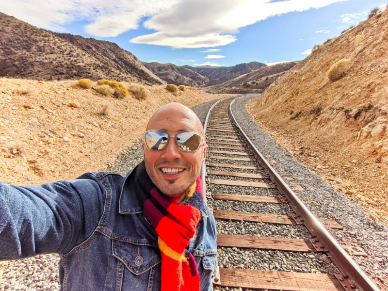 Rob Taylor on V&T Railway Tracks Rail Biking Carson City Nevada 2020 1
