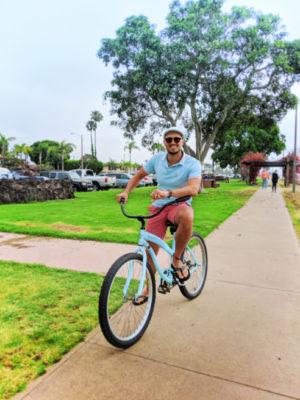 Rob Taylor riding bikes on Bike Path at Shoreline Park Shelter Island San Diego California 1