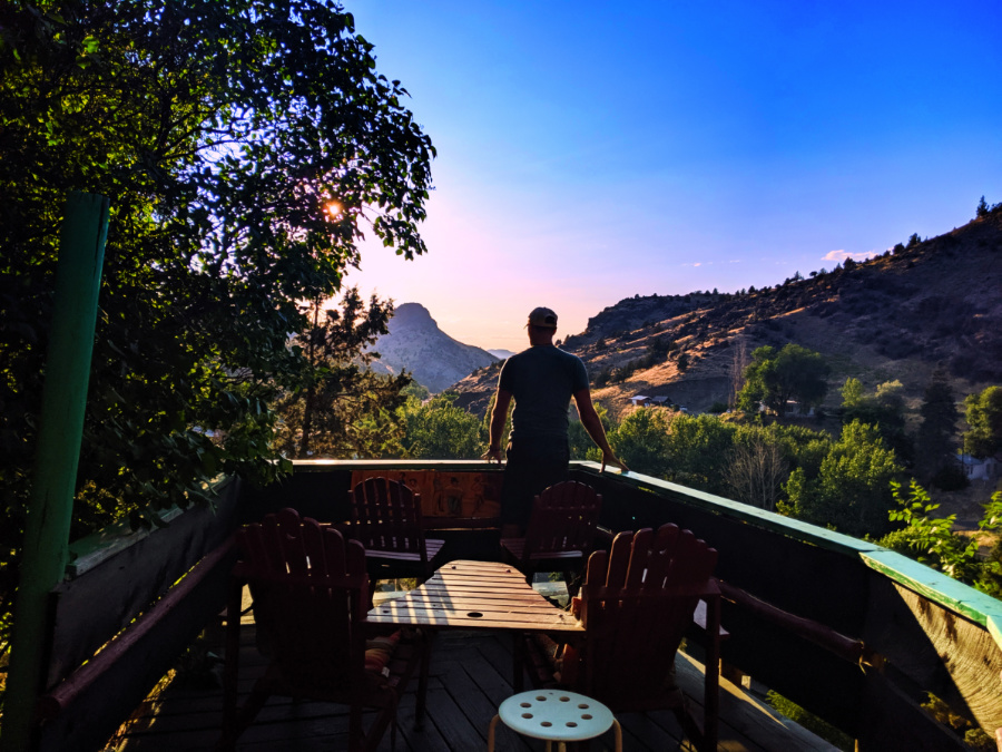 Rob Taylor watching sunset at Painted Hills Cottages Mitchell Oregon 1