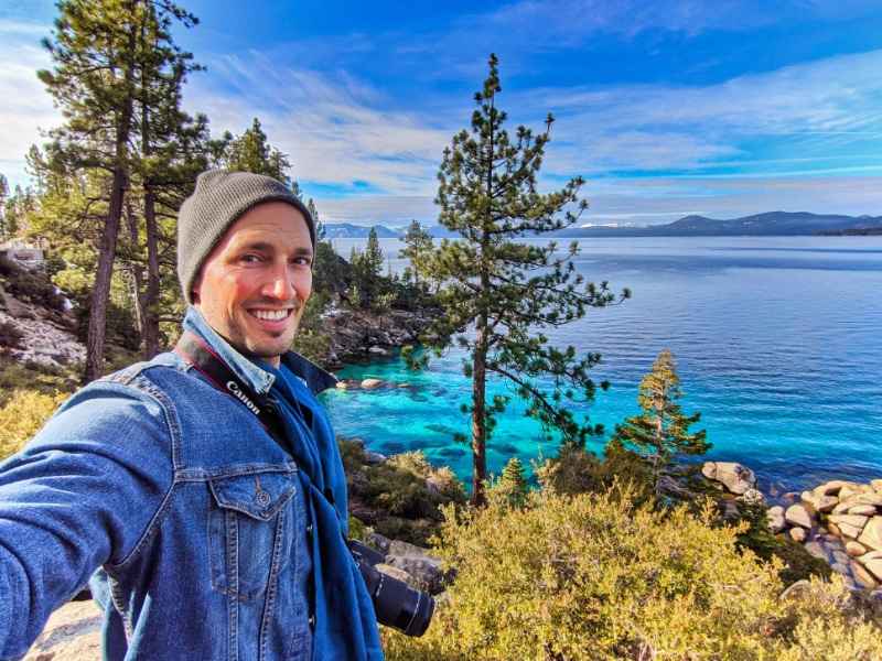 Rob Taylor with Turquoise water at Emerald Cove East Shore Trail Lake Tahoe Nevada 2020 1