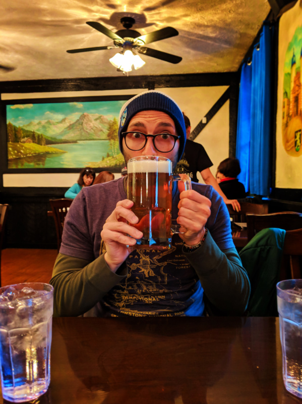 Rob Taylor with huge beer at Heidelberg restaurant in Alpine Helen North Georgia 1