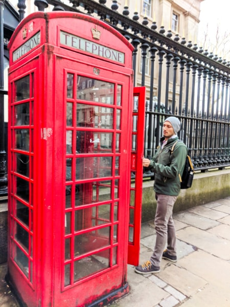 Rob Taylor with red phone booth London UK 2