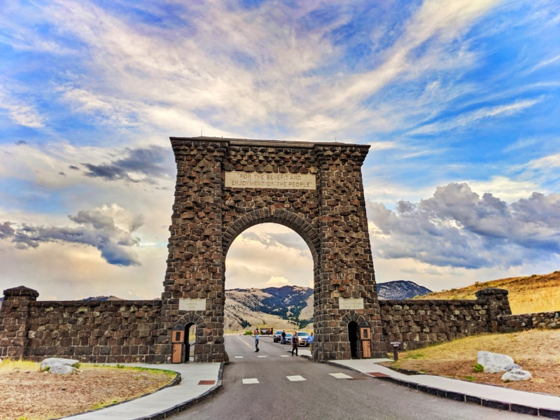 Roosevelt Arch at Gardiner Entrance Yellowstone National Park 3