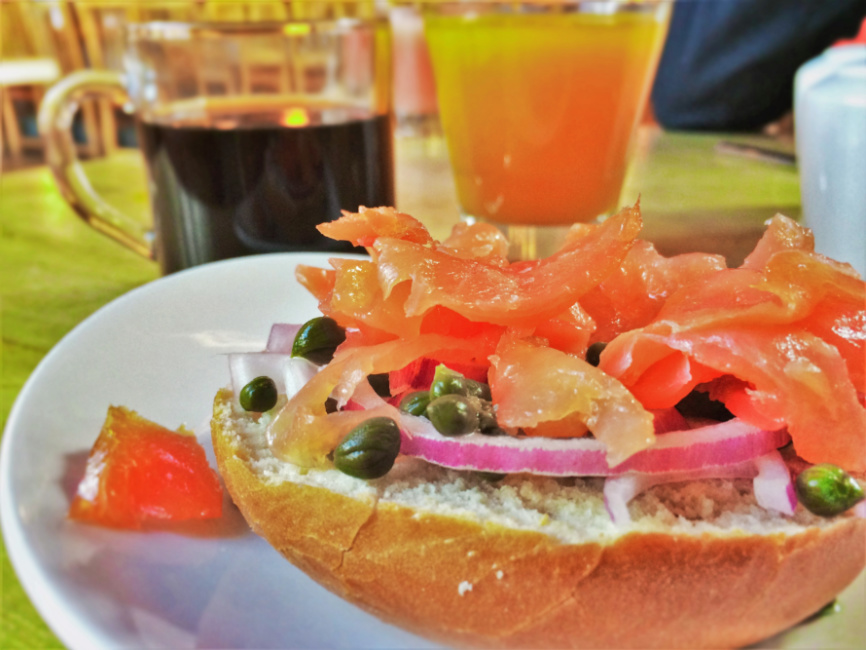 Salmon Lox Breakfast in Kingfisher Dining Room at Sleeping Lady Resort Leavenworth WA 1b