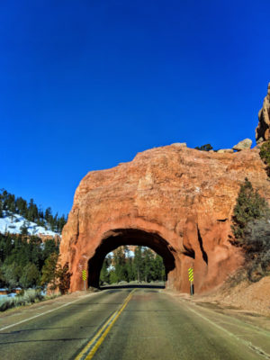 Sandstone Arch tunnel in Dixie National Forest Bryce Canyon Utah 1
