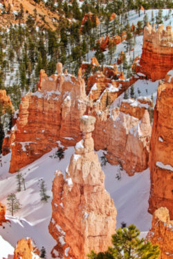 Snow on Thors Hammer Bryce Canyon National Park Utah 2