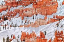 Snow on hoodoos at Inspiration Point Bryce Canyon National Park Utah 1