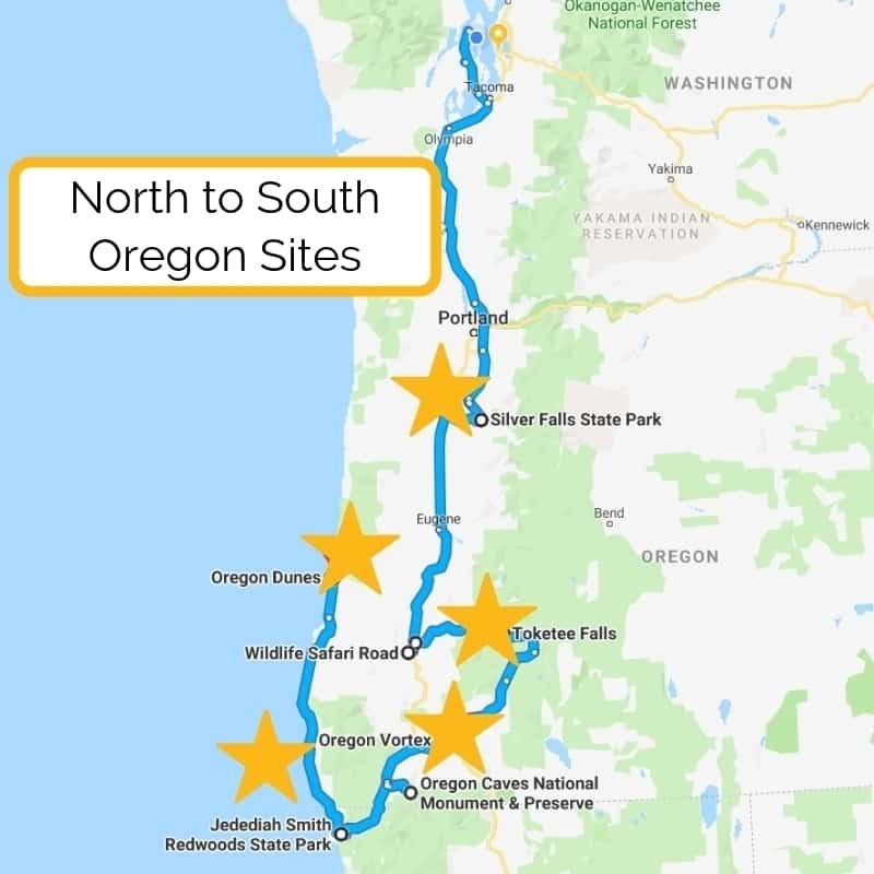 This Southern Oregon road trip itinerary includes waterfalls of the Cascades, the Oregon Caves, and highlights of the Oregon Coast. Perfect for family travel.