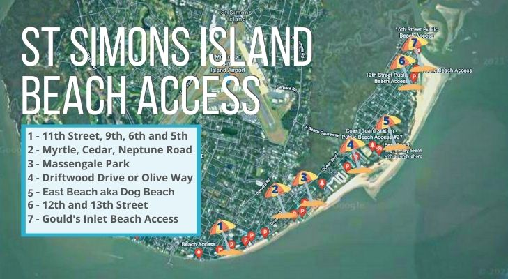 Beach days are some of the best things to do on St Simons Island, Georgia - map of beach access points