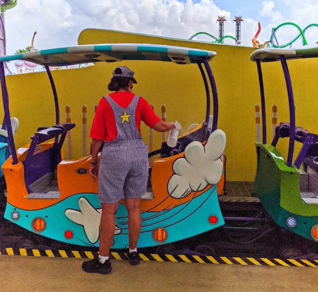 Staff Sanitizing Ride Vehicle Universal Orlando 2020 1