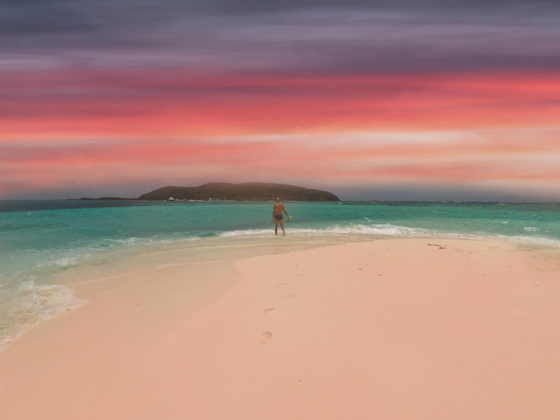 Swimming at sunset at Playa Escondida Puerto Rico