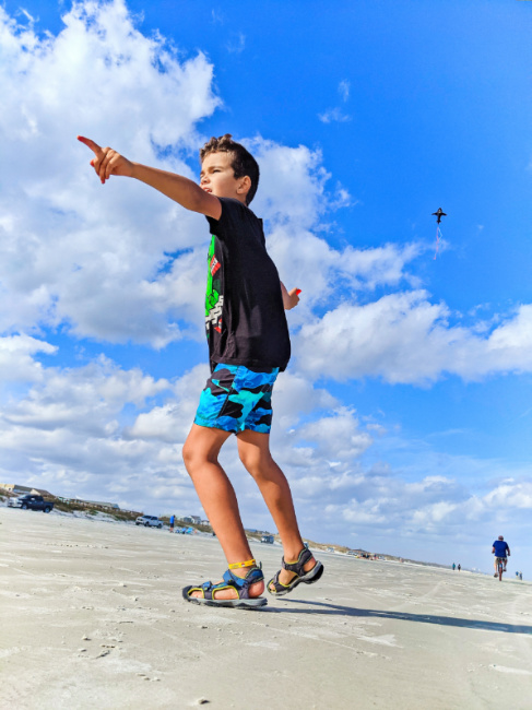Taylor Family Flying Kites at Butler Beach St Augustine Florida 2021 3