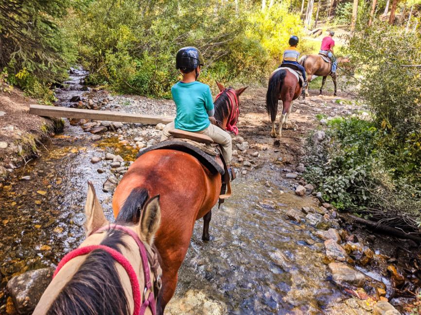 Taylor Family Riding Horses at Breckenridge Stables in Summer Breckenridge Colorado 10