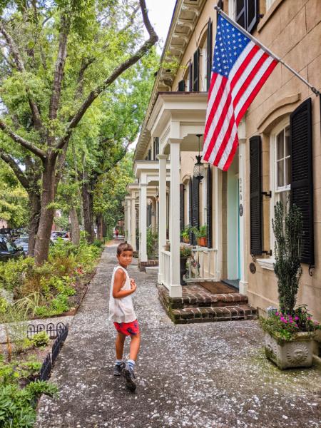 Taylor Family Walking through Downtown Savannah Georgia 15