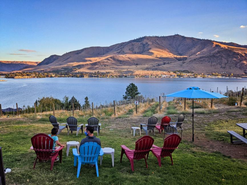 Taylor Family Wine Tasting Outdoors at Vin Du Lac Winery Lake Chelan Washington 1