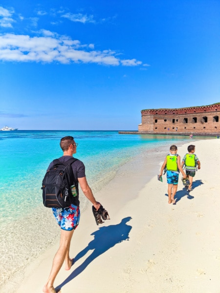 Taylor Family at Beach in Dry Tortugas National Park Key West Florida Keys 2020 2