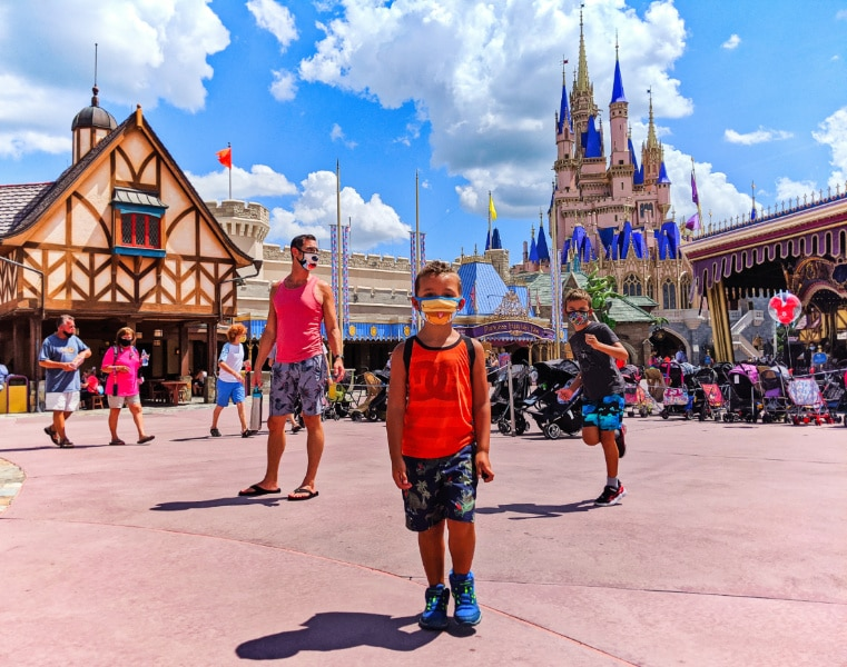 Taylor Family at Cinderella's Castle Magic Kingdom Disney World Florida 2020 4