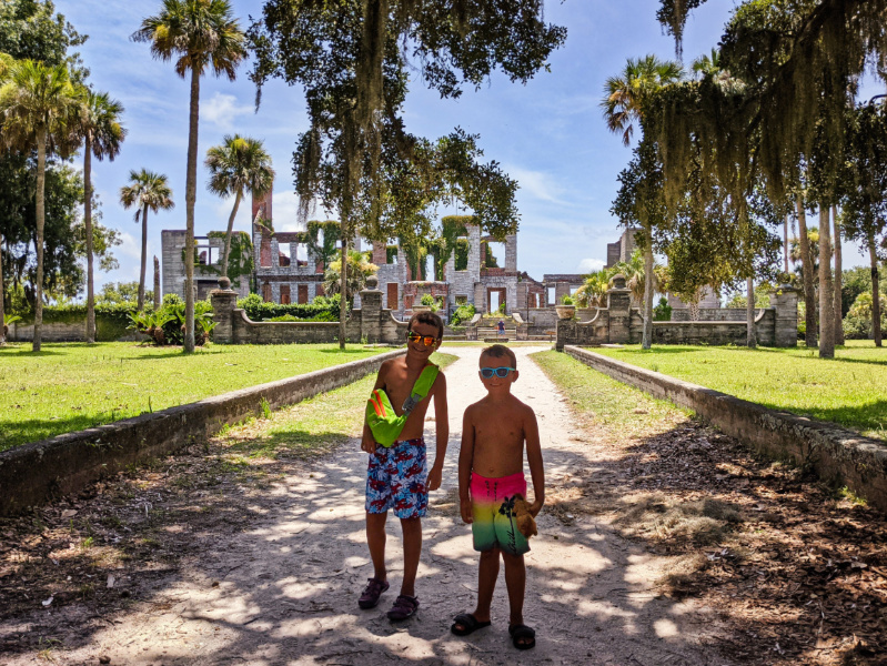 Taylor Family at Dungeness Ruins at Cumberland Island National Seashore Coastal Georgia 8