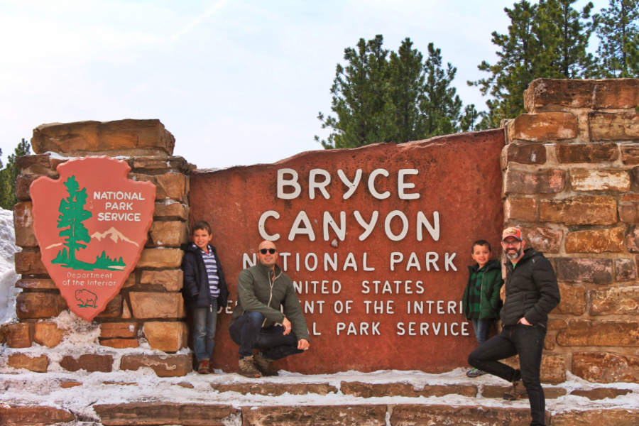 Taylor Family at Entrance Sign Bryce Canyon National Park Utah 3