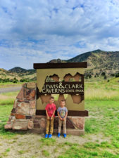 Taylor Family at Entrance Sign to Lewis and Clark Caverns State Park Montana 1