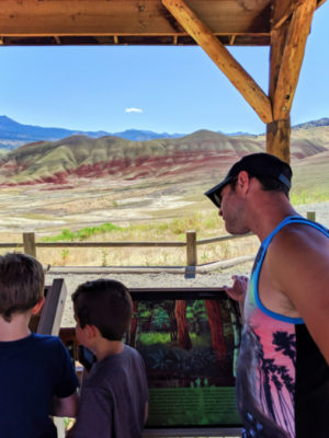 Taylor Family at Geology exhibits at Painted Hills John Day Fossil Beds NM Oregon 1