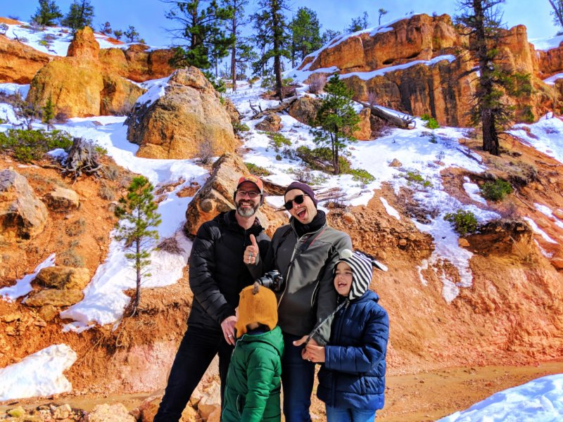 Taylor Family at Moss Cave hiking in Bryce Canyon National Park 1