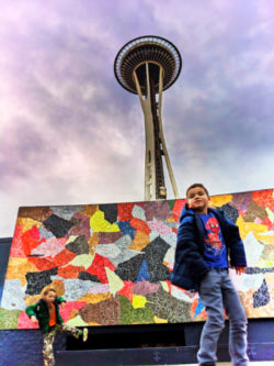 Taylor Family at Mural Stage Seattle Center Space Needle Seattle Washington 1