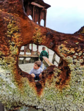 Taylor Family at Peter Iredale wreck at beach at Fort Stevens State Park Astoria Oregon 1