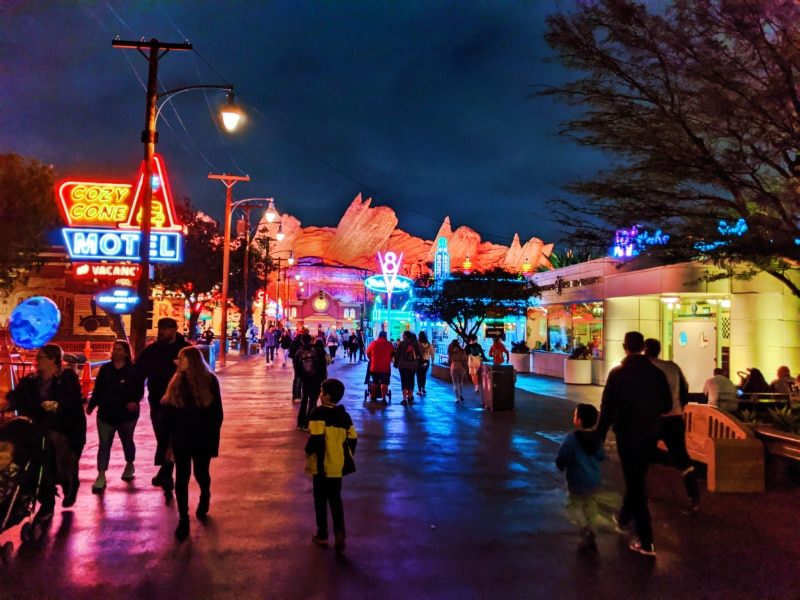 Taylor Family at Radiator Springs Cars Land at Night California Adventure Disneyland 2020 1