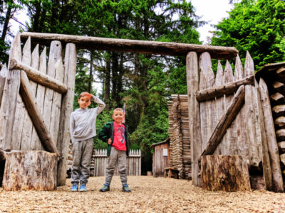Taylor Family at Reconstructed Fort Clatsop at Lewis and Clark National Park Astoria Oregon 7