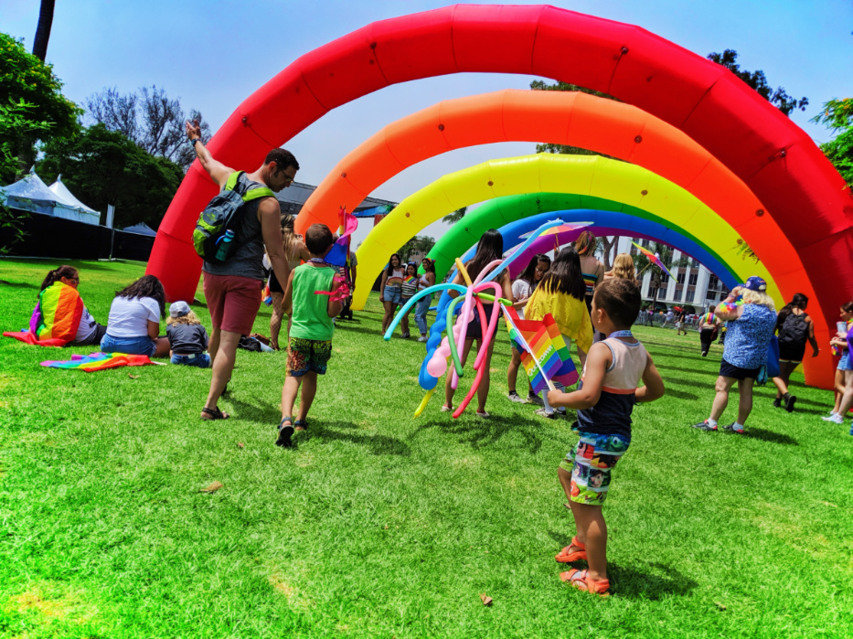Taylor Family at San Diego Pride Festival with Rainbows Balboa Park SD California 2
