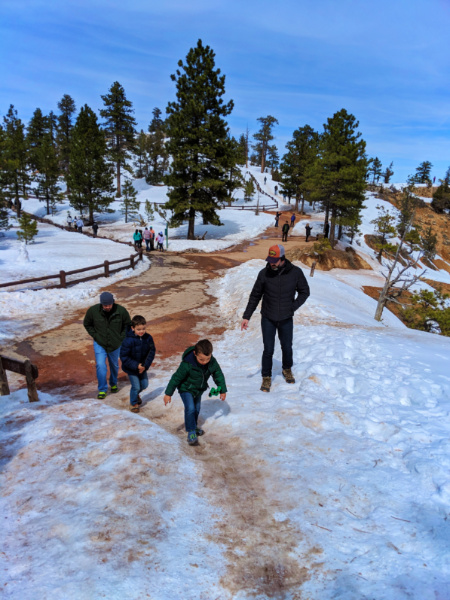 Taylor Family at Sunrise Point Bryce Canyon National Park in the Snow Utah 1