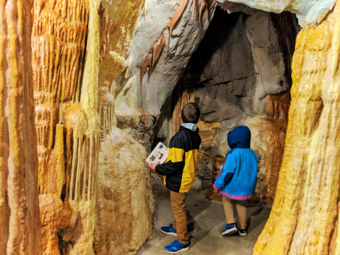 Taylor Family at Visitor Center geology exhibit in Lewis and Clark Caverns State Park Montana 1