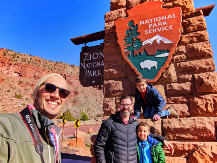Taylor Family at Zion National Park Entrance Sign Utah 2