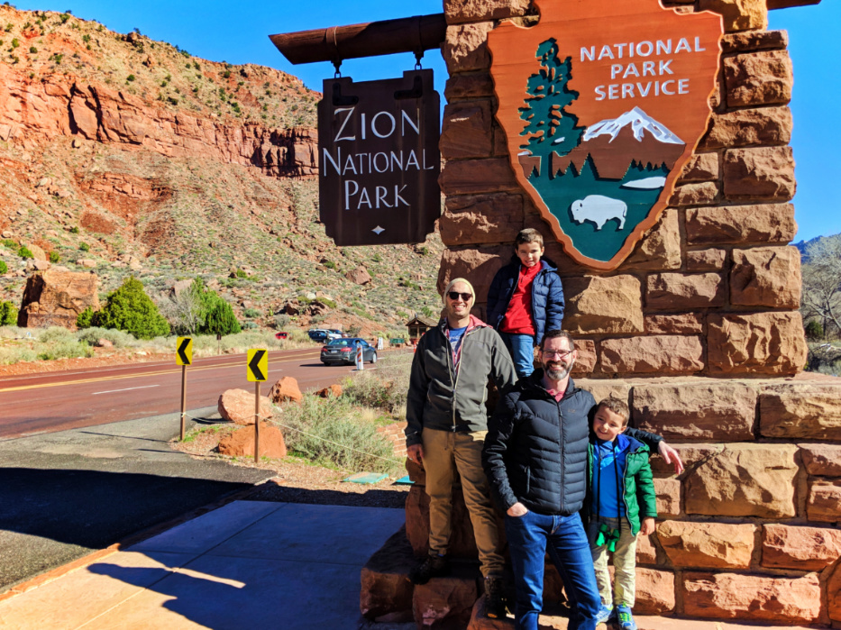 Taylor Family at Zion National Park Entrance Sign Utah 3