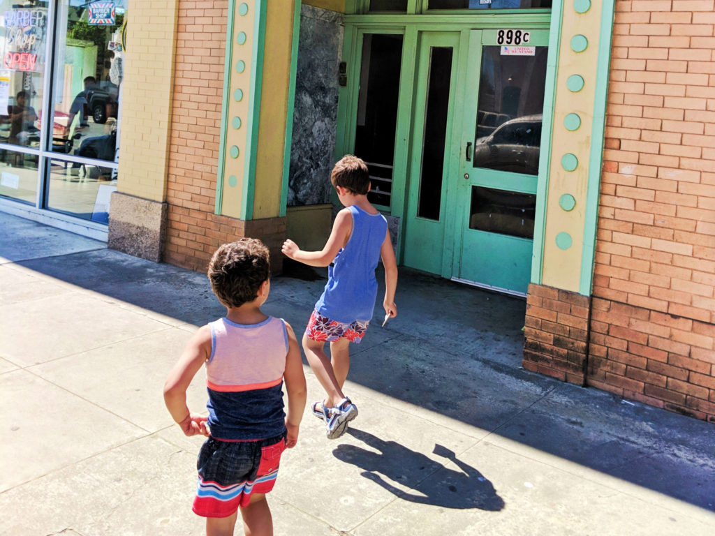 Taylor Family at art deco building downtown Guadalupe Santa Maria Valley California 4b