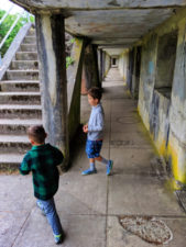 Taylor Family at bunkers at Fort Stevens State Park Astoria Oregon 2