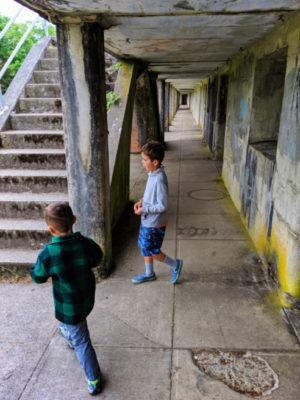 Taylor Family at bunkers at Fort Stevens State Park Astoria Oregon 2