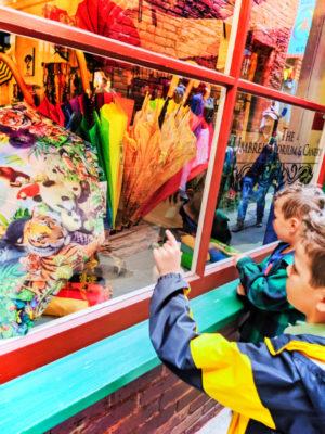 Taylor Family at colorful umbrella shop in Fantan Alley Chinatown Victoria BC 7