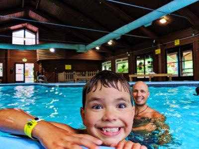 Taylor Family at indoor Pool at Astoria KOA Campground Warrenton Oregon 2