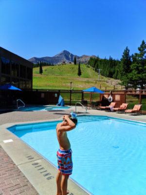 Taylor Family at pool at Big Sky Resort Huntley Lodge Big Sky Montana 1