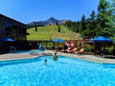 Taylor Family at pool at Big Sky Resort Huntley Lodge Big Sky Montana 2