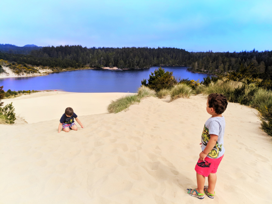 Taylor Family climbing dunes at Honeyman State Park Sand Dunes Florence Oregon Coast 8