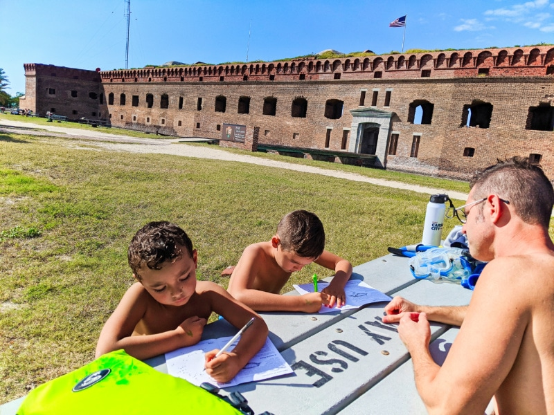 Taylor Family completing Junior Ranger Packets at Dry Tortugas National Park Key West Florida Keys 2020 2