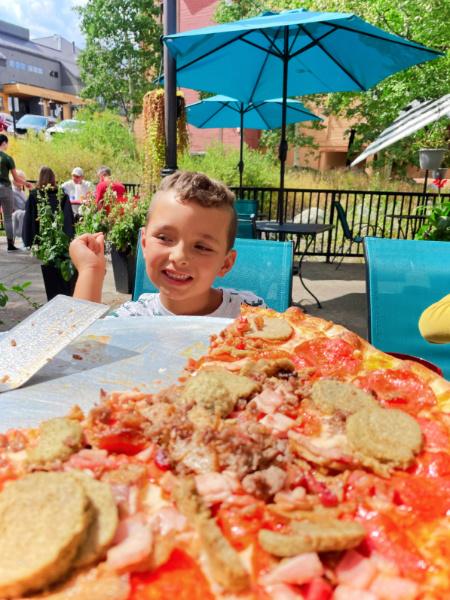 Taylor Family eating Pizza at Luigis Breckenridge Colorado 1