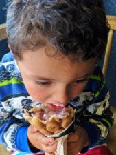 Taylor Family eating nitro ice cream at Nite Creamery Santa Maria California 1