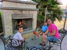 Taylor Family fireside at Best Western Island Palms Hotel San Diego California 2