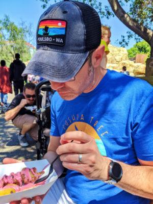 Taylor Family getting food at Boysenberry Festival Knotts Berry Farm Buena Park California 2